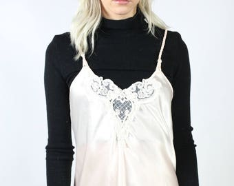 Pink Slip Dress with Lace and Pearl Detail