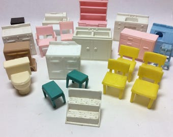 SALE Vintage Dollhouse Furniture Marx Renwal Superior Plasco Toy Kitchen Washing Dryer Bathroom Toilet Stove Sink China Hutch Small Scale