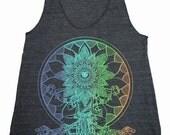 Women's Psychedelic SEER Mandala Eye Tank Top Sacred Geometry Hand Screen Printed Shirt