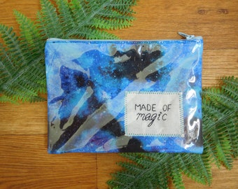 Clear Vinyl Embroidered Pencil Case, Pouch, Makeup Bag || Made of Magic
