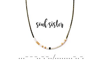 Morse Code Soul Sister Necklace, Morse Code Necklace, Friendship Necklace, Best Friend Gift, Morse Code Jewelry
