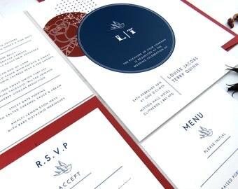Rockabilly wedding invitation, Alternative wedding, 1950s wedding stationery suite, Retro wedding invitation, Psychobilly wedding invite