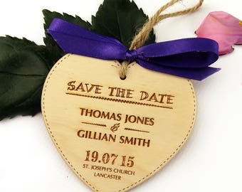 Classic Heart Wooden Save the Date