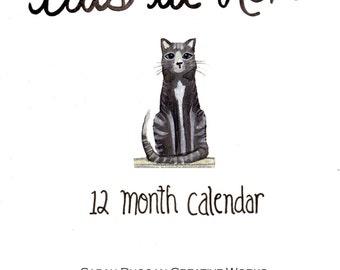 Cats at Home- 12 Month Calendar Birthday Calendar Record Book