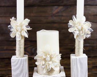 Rustic Wedding Ceremony, Vintage Pillar Candle, Country Wedding Flower Candles Vintage Chic Unity Candle Set Vintage Unity Ceremony Set 3pcs