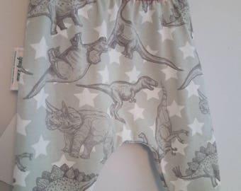 Dinosaur Star Leggings with Orange waistband. Newborn - 3 Years