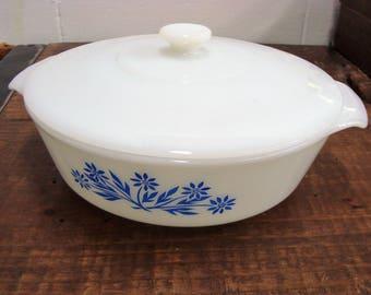 Vintage FireKing Milkglass One Quart Casserole Dish With Lid
