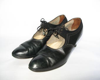 1920's or 1930's Black Leather and Suede Mary Jane Shoes - UK 6