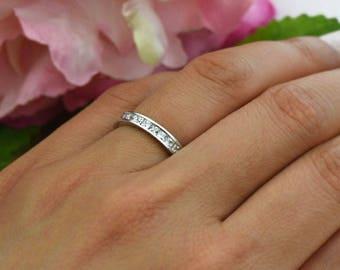 2 ctw Princess Channel Set Full Eternity Band, Wedding Band, Engagement Ring, 2mm Man Made Diamond Simulants, Bridal Ring, Sterling Silver