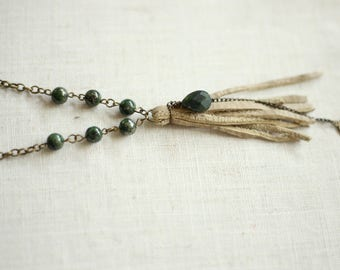 Handmade Leather Tassel Necklace with Green Pyrite