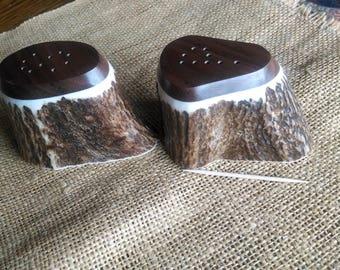 Antler Salt and Pepper Set, x-large Elk Antler and Idaho Idaho Black Walnut hardwood, natural color shakers, unique shape, smooth flat tops