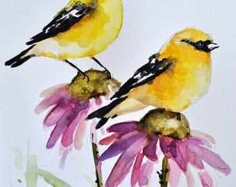 PRINT Of Watercolor Bird Painting, Goldfinch With Lavender Purple Flowers 6x8 Inch