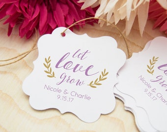 Let Love Grow Tags, Bridal Shower Gift Tags, Thank You Tags, 24 Wedding Favor Thank You Tags, Personalized Favor Tags