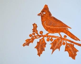 metal cardinal decor saint louis cardinals decor cardinal metal art cardinal bird rusted metal - Orange Garden Decor