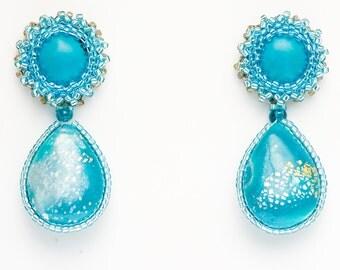 "Earrings ""Novelove"" #drop earrings turquoise and white# pendants handmade #earrings for summertime #beadedearrings well crafted#madeinItaly"
