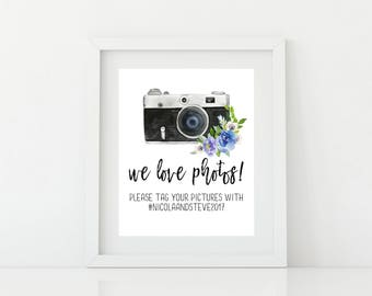 Printable Social media Wedding Sign - Digital PDF file - Wedding Hashtag Sign Printable - Hashtag Wedding Sign