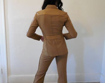 wool bleand and leather camel suit