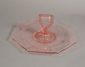 Pink Glass Serving Dish - Antique Depression Glass Plate - Vintage Floral Octagon Dessert Plate with Handle
