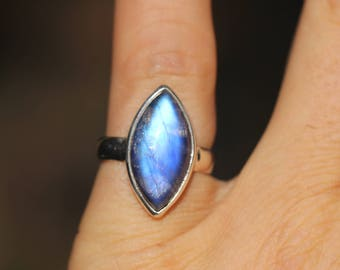 Long Blue Marquee Rainbow Moonstone Ring Size 6.75, Sterling Silver, High Quality Blue Moonstone AMR33