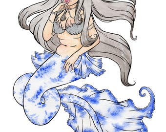 PRINT Koi Mermaid Watercolour A5 or A4