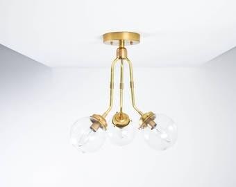 Modern Semi Flush Raw Brass Gold 3 Arm Angled Clear Globe Mid Century Semi Flush Industrial Light Modern UL Listed