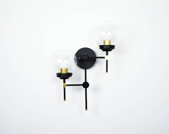 Free Shipping! Wall Sconce Black and Gold Brass 2 Clear Globe Modern Abstract Mid Century Industrial Art Vanity Light Bathroom UL Listed