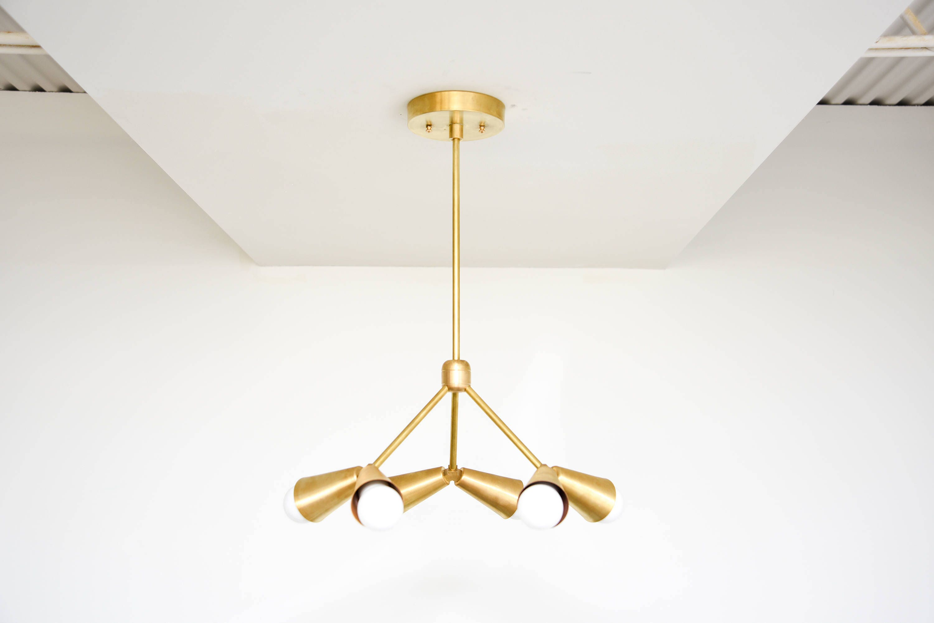 Free Shipping Modern Chandelier Raw Brass Gold Mix 3 Arm 6 Light