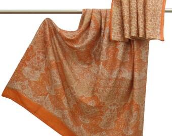 Indian Vintage 100% Pure Silk Saree White Floral Printed Antique Sari Craft Fabric Used Saree Decorative Fabric 5Yd PS50208