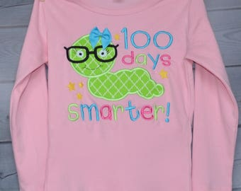 100 Days of School Smarter Applique Shirt or Onesie Boy or Girl
