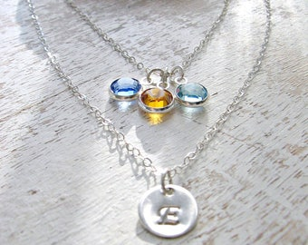 Layered Initial Necklace Personalized letter Birthstone Necklace monogram Jewelry 925 Sterling Silver Swarovski Birthstones Mothers Necklace