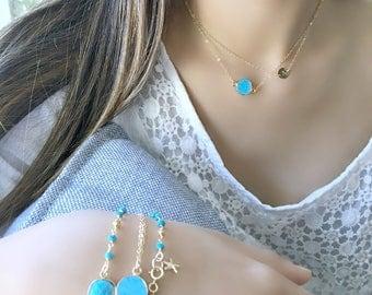layered turquoise necklace turquoise jewelry gemstone necklace turquoise 14k gold filled 24k gold electroplated turquoise boho chic necklace