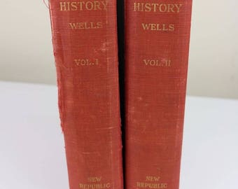 the outline of history hg wells hardcover books 1920 antiques antiquarian humankind mankind humanity world knowledge science innovation