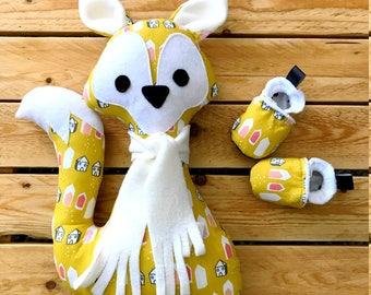 kit naissance, chaussons et doudou renard, coton et polaire douce