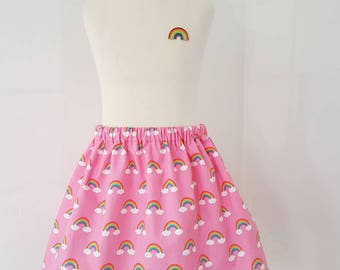 Rainbow skirt, rainbow party, pink skirt , unicorn clothing, UK clothing