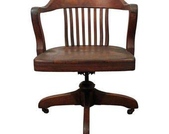 Antique Office Chair Oak Swivel Arm Chair on Wheels