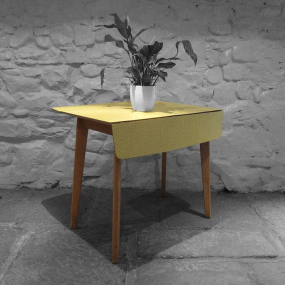 Vintage Yellow Grey Formica Table Extending Kitchen Dining 1960s Retro
