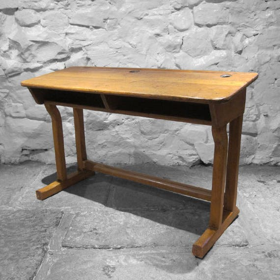 Antique School Desk Oak Twin Double 1920s Old Vintage