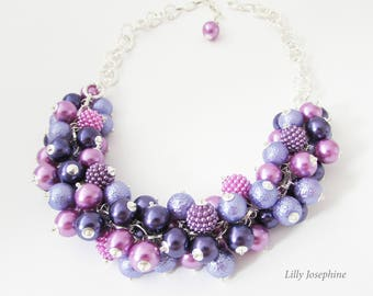 Chunky Raspberry Pink, Purple and Lilac Pearl Beaded Necklce, Purplee Cluster Necklace, Bridesmaid Purple Jewelry, Pink Wedding Jewellery