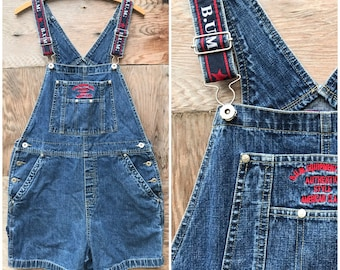 90's Dark Denim Overalls Shortalls by B.U.M. Equipment - Women's M