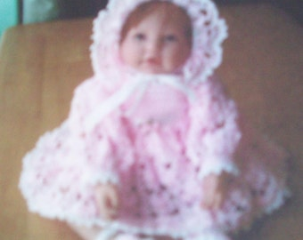 baby dress with bonnett and shoes, crochet