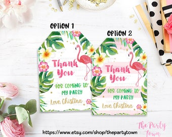 Flamingo Birthday Favor tags, Flamingo Thank you tags, gift tags, Decorations, Hawaiian Luau Party Invitation, Luau Invitation, Tropical