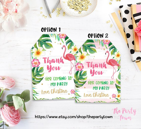 Excellent Flamingo Birthday Favor tags, Flamingo Thank you tags, gift tags  SP48