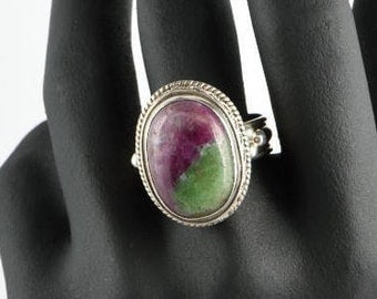 Ruby Zoisite Ring, Large Sterling Ring, Vintage Ring, Oval Gemstone, Size 11 1/2