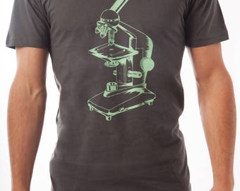 Microscope Screen-Printed Science Nerd T-Shirt - Men's, Women's & Kids'