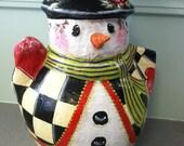 Hand Painted Paper Mache Snowman