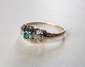 Art Deco two tone 14k gold emerald promise engagement ring circa 1940s size 5