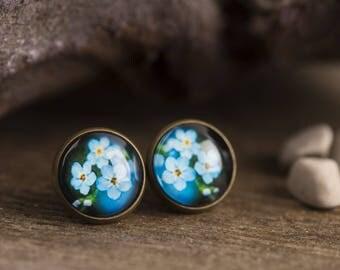 Forget me not earrings, flower earrings, floral earrings, nature earrings, nature jewelry, floral earrings, post earrings, stud earrings