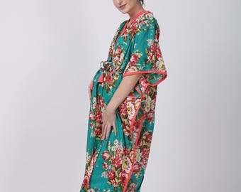Teal Maternity hospital dress, delivery gown, nursing gown, gown epidural, pregnancy gown, nursing dress, breastfeeding gown, hospital robe