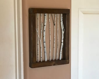 Rustic Wall Art, Aspen Tree Wall Art, Birch Tree Wall Art, 3D Wall