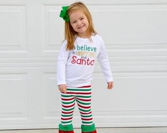 Girl Christmas Shirt - Unicorn Shirt - Unicorn Christmas - Santa Shirt - Unique Christmas - Christmas Shirt - Believe Santa - Girl Christmas